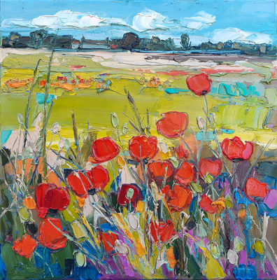 Distant Farm and Poppies, East Lothian