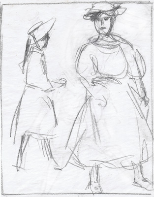 Figure Studies of Two Young Girls, Paris Plage'Young Girl on the Beach' verso