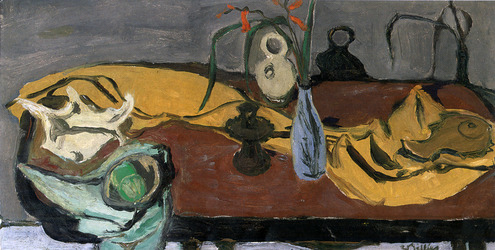 Still Life with Yellow Cloth & Blue Vase