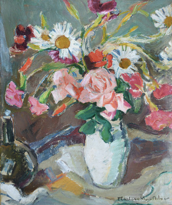 Still Life with Mixed Flowers and Bottle