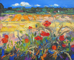Haybales and Late Poppies, Preston Mill