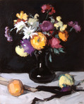 Still Life of Chrysanthemums against black