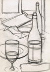 Still Life of a Glass and Bottle