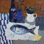 Still Life with Fish and White Jug