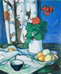 Still Life with Red Geraniums, Oranges & Lemons against an Oriental Drape