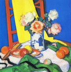 Still Life with Roses and Red Chair